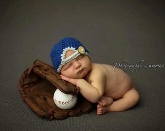 Newborn photo prop-Backwards baseball cap-baseball photo prop-baseball hat-newsboy hat-crochet baby hat