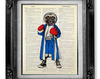 Geekery Hipster Art Fighter - College DORM Decor OFFICE Decor Man Funny Unique BIRTHDAY Gift Boyfriend, Boxer Dog Art Painting Poster Print