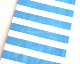 Favor Bags Stripe 12  Blue Rugby Stripe Gift Bags, Popcorn Bags, Candy Buffet Bags, Candy Bag, Blue Wedding, Blue Baby Shower, Birthday