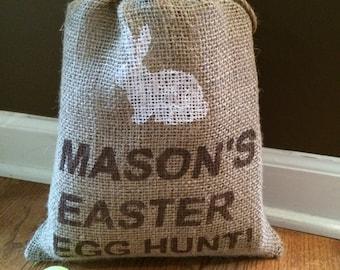 Easter Egg Hunt Burlap Bag / Easter Basket with BUNNY,   Personalized jute bag