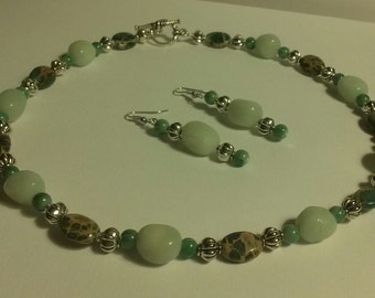 Necklace and Earing Set Aqua Marine Stones, Turquoise. Stones, Antique Silver Beads and Antique Silver  Toggle Clasp