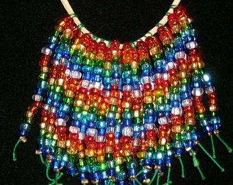 Rainbow Beaded Fringe Bib Necklace