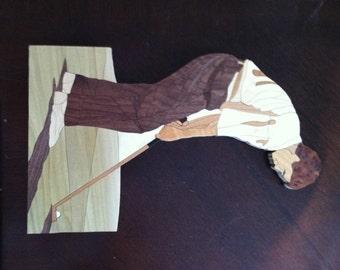 Golfer Marquetry Wood Art 14 x 9