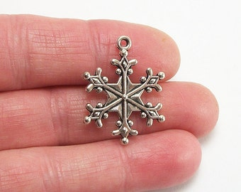 6 pc. Extra Large Snowflake charm, 28x22mm, antique silver finish