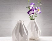 Geometric vase White ceramic Origami inspired Gift idea For her & for him Contemporary style Home decor