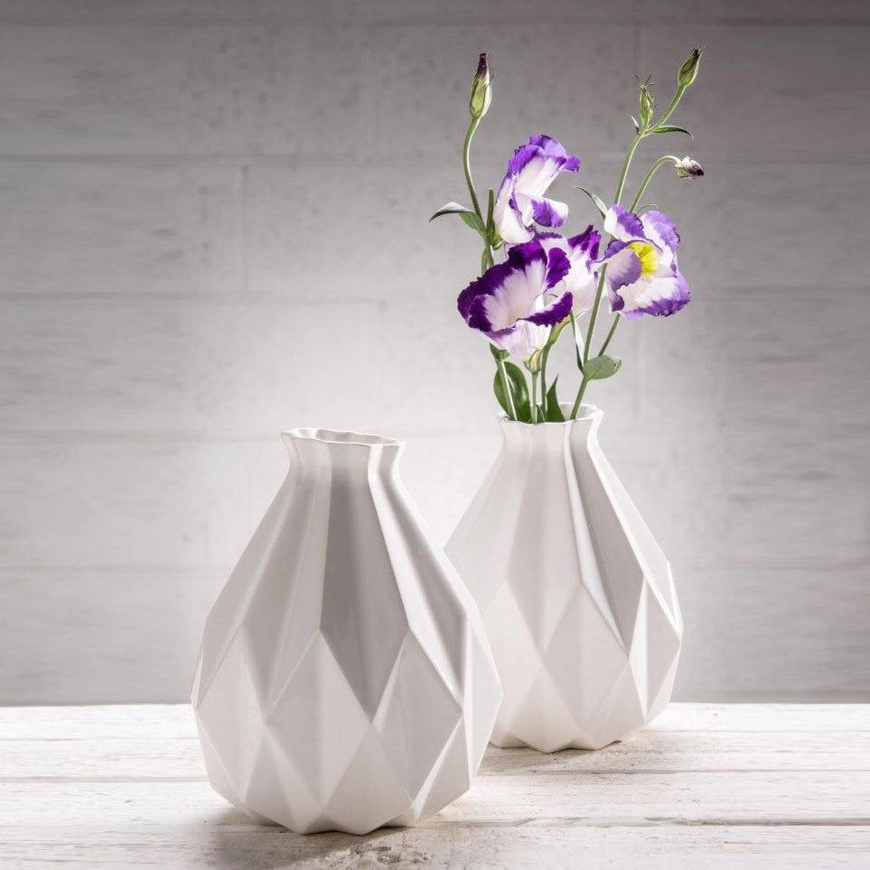 Geometric Vase White Ceramic Origami Inspired Gift Idea