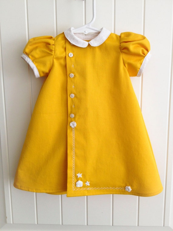 Items Similar To One Of A Kind Mustard Yellow Baby Dress