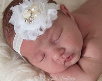 Baby Headband, White Headband,Christening Headband, Baptism Headband,Newborn Headband,Baby girl Headband,Shabby chic Headband,Baby Bows