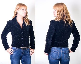 Vintage Black Velour Blazer With Embroidered Roses, Fitted, Size XS/Small, AT Denim