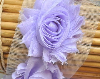 "2.5"" Lavender shabby flower trim - frayed chiffon - rose flowers by the yard - light purple -  JT CF Lavender"