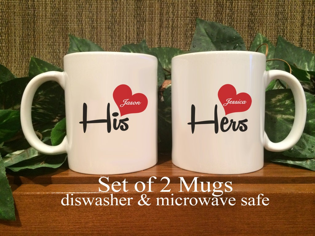 personalized coffee mugs his hers valentines day wedding. Black Bedroom Furniture Sets. Home Design Ideas