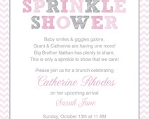 Pink Baby Sprinkle Shower Invitation / Pink Grey Girl Chevron / Umbrella / Printable / Sprinkle Shower