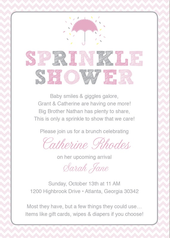 pink baby sprinkle shower invitation pink grey girl chevron
