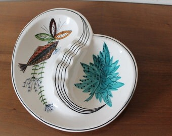 Retro Italian Bowl hand painted with fish and flora - 1950's / 1960's