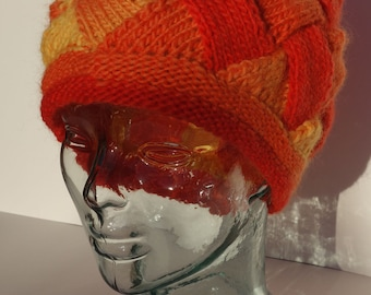 Womens Knit Hat, Hand Knit Hat, Winter Hat, Red and Yellow Hat, Fire Colors Themed