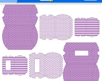 Purple Printable Gift Boxes for instant Download. PDF.  Polka Dots and Stripes Favor Box. Pillow Box. Violet