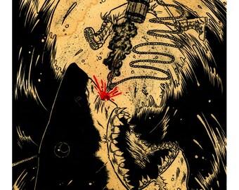 "Rex Nocturnus ""Buried In Water"" Giclee Print"