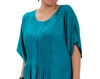 Plus Size Tunic Top for Women with Pleated Front, Adustable Tie Back for Fit | Full Figured Sizes