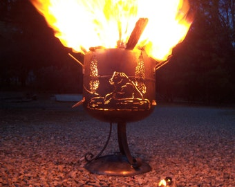 Grizzly fire pit of mostly salvaged steel