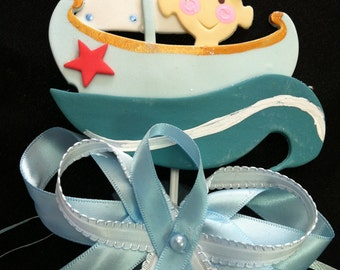 Nautical cake topper nautical favors sailor baby showers for Anchor decoration runescape
