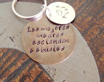 Quote Keychain Layered Keychain Handstamped Keychain Personalized Keychain Custom Keychain Brass Keychain Heart Keychain Gift for Mom
