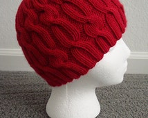 KNIT PATTERN:  Alternating Cables Cap Pattern Download