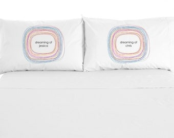 "Custom Printed ""Dreaming"" Pillowcases, Valentine's Day Gift, Personalize with name, Set of 2"