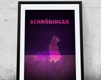 Schrodinger's Cat, Science Poster, Printable Poster, Wall Decor, Illustration