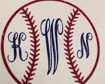 GLITTER Monogram Baseball Long Sleeve T-Shirt