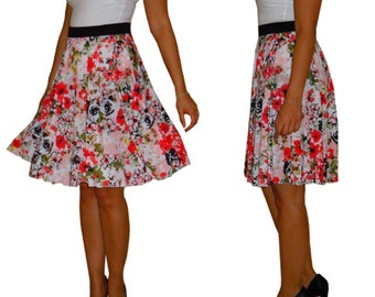 Red floral skirt, circle skirt, elastic waist, red orange taupe, elastic waistband, de almeida designs