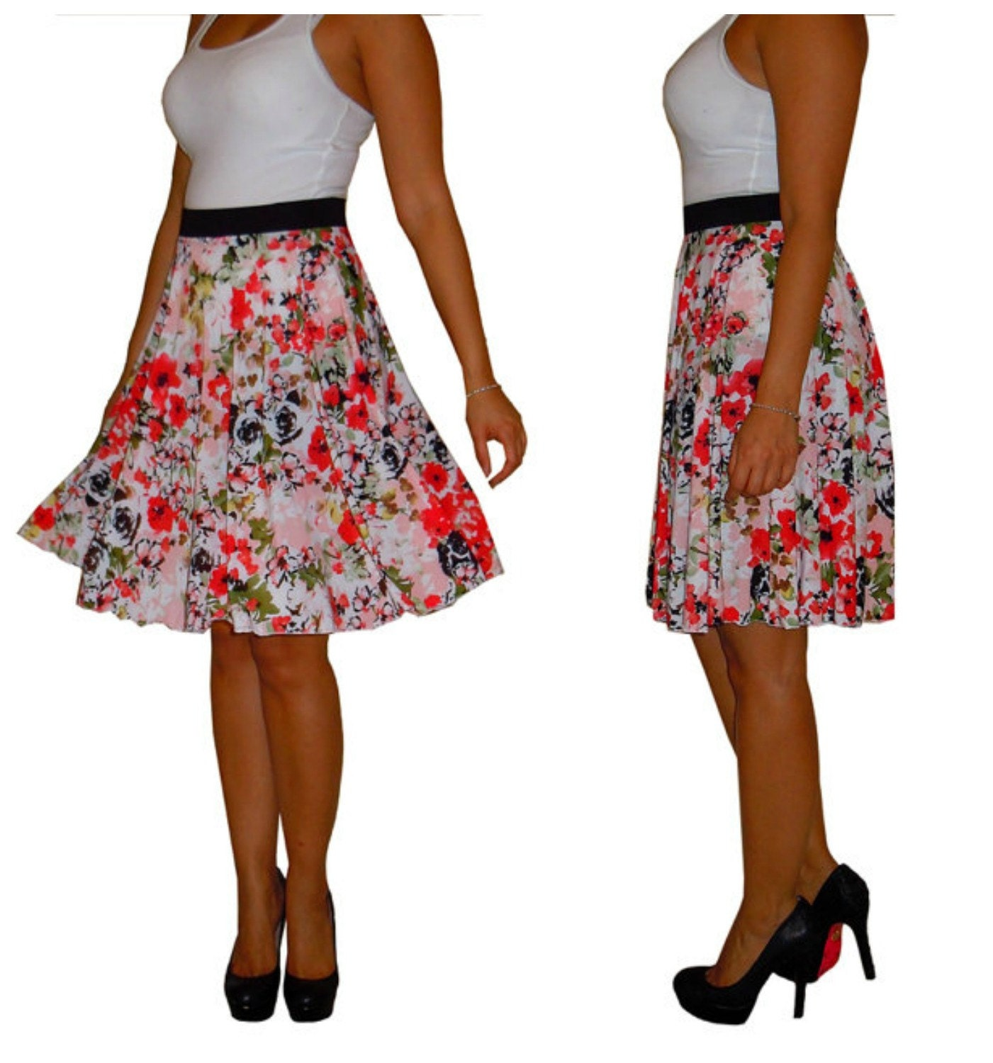 Treat her skirt like the skirt for a curvy adult, but in miniature scale- make the smaller circle for her hip measurement and the elastic for her waist measurement. That way, it should go over her hips just fine but still be cinched in.