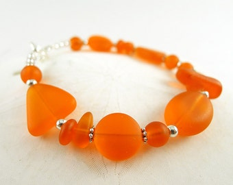 Orange sea glass bracelet sea glass jewelry handmade jewelry seaglass bracelet seaglass jewelry frosted glass beads jewelry bridesmaids gift