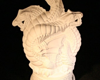 Ceramic Three-Headed Dragon Smoker (Unpainted Bisque)