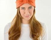 Bow Headband Wraps Headband Stretchy Jersey Hair Band Turban Hair Accessory Orange