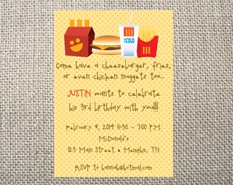 PRINTED or DIGITAL McDonalds Inspired fast food Birthday Invitations 5x7 Customized McDonald's Design 0.82 each