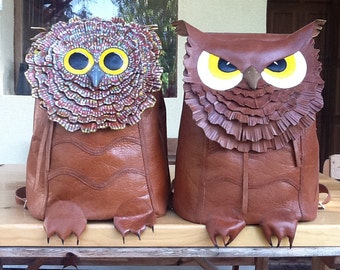 Owl handmade leather rucksack