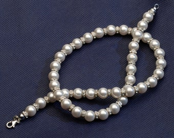 White Pearls Swarovsky Pearls Wedding Necklace Bridal Jewelry Pearl Necklace Bridal Necklace