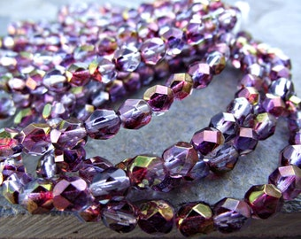 6mm Purple Luster Beads Czech Glass Faceted Round CZ201,pantone orchid,purple glass beads,purple luster beads,purple beads,czech glass beads