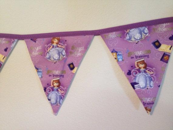 Purple Princess Triangle Fabric Banner