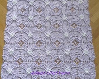 "Crochet Pattern ""Lilac Afgan,Bedspread,Baby Blanket""-Easy tutorial Crochet Pattern-#6,PDF file,ASmartPattern"