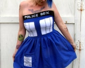 POLICE BOX pocket mini dress Cosplay TARDIS inspired Doctor  Costume Who