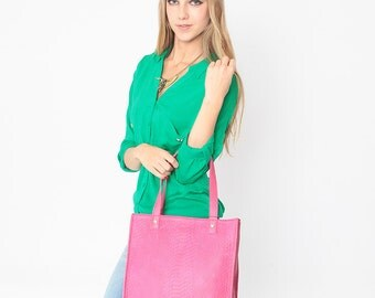 SALE 30% OFF PINK Leather Tote in Python Leather by StudioMB