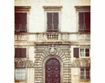 Lucca Italy Door Photography, Windows, Arch, Beige, Brown, Stone, Home Decor, Wall Art - Lucca for Us (Vertical -See full image) -D