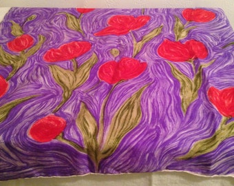 Italian Floral Silk Scarf, Tulips, Red, Purple