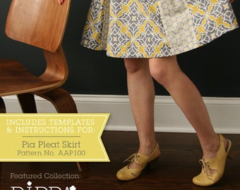 Pia Pleat Skirt pdf sewing pattern in sizes S, M, L. A-line skirt with box pleats on front and back.