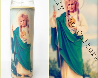 Saint Jareth Prayer Candle // Labyrinth Bowie // David // Goblin King // birthday boyfriend girlfriend Fathers Day  Gift Idea