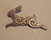 Celtic Rabbit Brooch or Pendant in Bronze