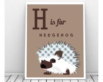 Hedgehog Art, Instant Digital Download, Hedgehog Print, Boy Nursery Art, Instant Download Art, Hedgehog Drawing, Hedgehog Gifts, Bedroom Art