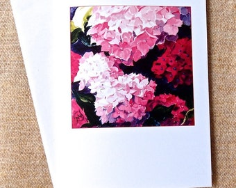 Pink Hydrangea Card pink and magenta flowers from my original painting
