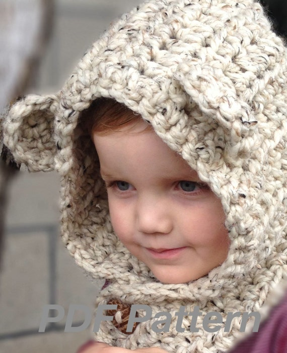 Crochet Pattern Brady Bear Cowl Hoodie Toddler Child and